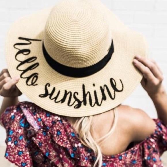 🆕Hello Sunshine Embroidered Floppy Sun Hat 271b9a3dbd9c